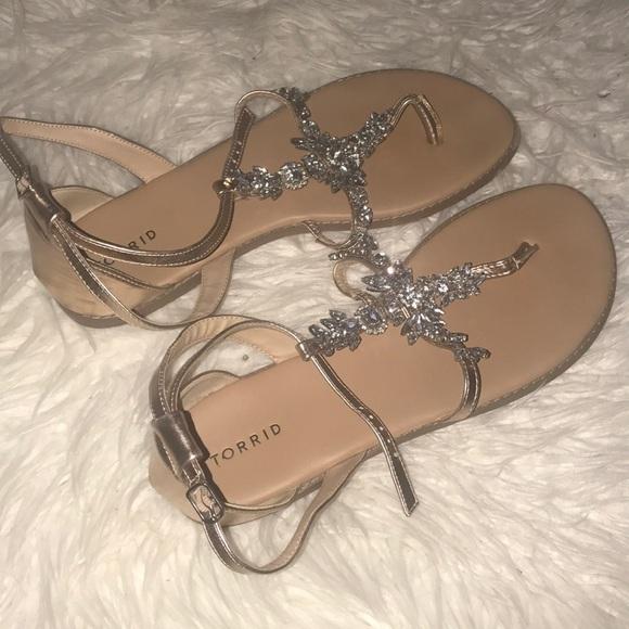 68fc1ca47 Embellished Gemstone T-Strap Sandals (Wide Width).  M 5b4a972dd8a2c756e5008c54